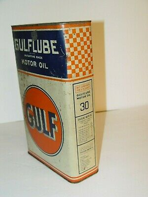 Rare Old Vintage Advertising 5 Qt Quart Gulflube Motor Oil Slim Checkerboard Can