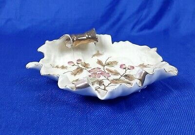 antique Royal Worcester bon-bon dish curled with hand painted flowers  B2