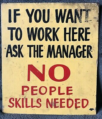 Vintage Hand Painted Sign 1950s 1960s 1970s No People Skills Needed