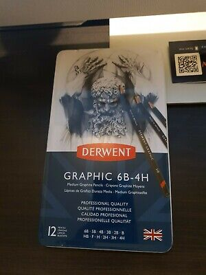 BRAND NEW Derwent Graphic 6B-4H 12 Medium Graphite
