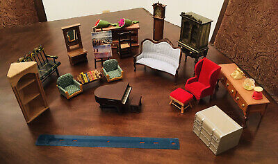 Lot of 36 Vintage Dollhouse Furniture Miniatures- Sofas, Tables, Chairs, etc.