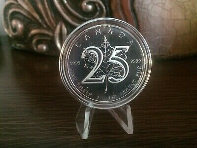 Canada 2013 Silver Maple Leaf 25th Anniversary $5 Fine silver Coin Capsule