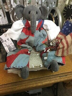 Primitive Elephant Doll Americana , Antique Quilt, Flag, Folk Art Elephant Doll