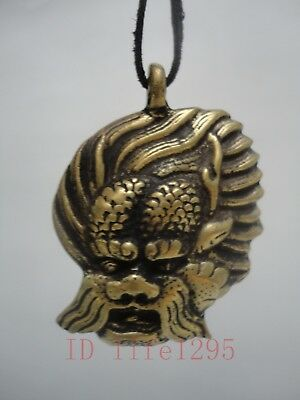 Collect China Tibet Ancient Bronze Carving Buddha Head Amulet Pendant Decoration