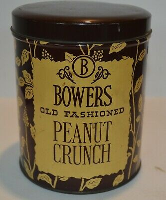 Vintage Bowers Old Fashioned Peanut Crunch Tin Can Bower's - Philadelphia PA