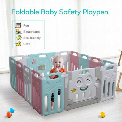 14 Panel Baby Playpen Foldable Play Yard Activity Center Fence Home Indoor