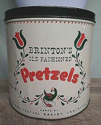 Charming Vintage BRINTON'S Large Amish OLD FASHIONED PRETZEL Tin