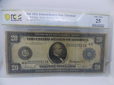 1914 $20 FRN Fr 978 CLEVELAND PCGS BANKNOTE VF25 DETAILS ONLY 66 NOTES KNOWN!