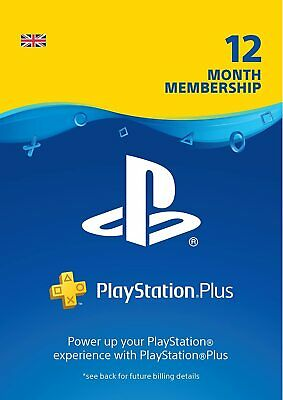 PS Plus 365 Days 12 months PlayStation PSN UK PS Store 1 Year Code PS4