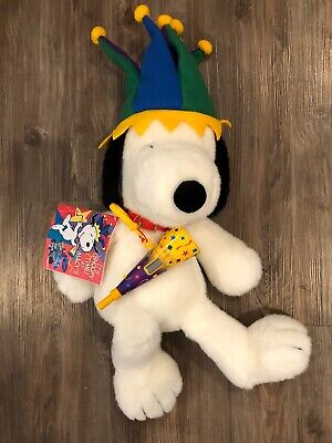 """Macy's 2000 Millenium Jester Peanuts Snoopy 24"""" Plush Collectible With Tags"""