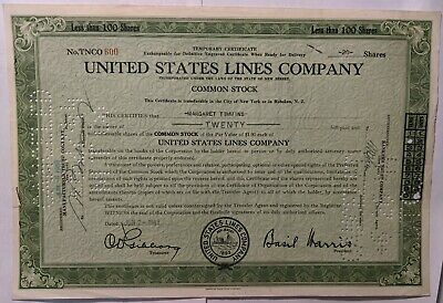 United States Lines Company 40 Shares Stock Certificate 1943