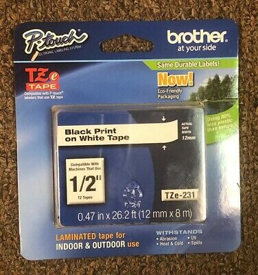 "BROTHER TZe-231 1/2"" BLACK PRINT ON WHITE TAPE"