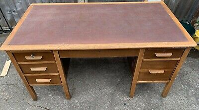 Large Antique Style Wooden Desk Leather Top