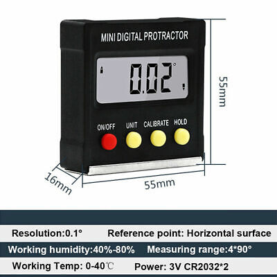 Cube Angle Gauge Meter Inclinometer Digital Protractor Electronic Level Box US
