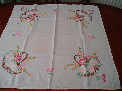 "VINTAGE HAND EMBROIDERED TABLE CLOTH  33"" x 32"""