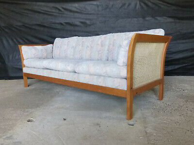 EB652 Teak & Bergere Three-Seater Sofa Vintage Couch Retro Settee Norell Sweden