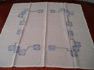 "VINTAGE HAND EMBROIDERED TABLE CLOTH  31"" x 33"""