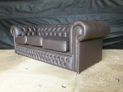 EB654 Brown Leather Chesterfield Three-Seater Sofa Vintage Retro Settee Couch