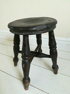 Farmhouse Milking Stool Ash Elm 4 Turned Legs Cross base Antique Victorian