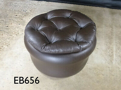 EB656 Sherborne Dark Brown Vinyl Footstool Vintage Lounge Retro Interiors
