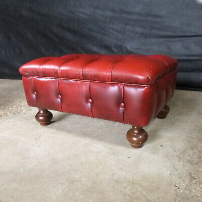 EB657 Chesterfield Buttoned Red Leather Footstool Vintage Lounge Retro Interiors