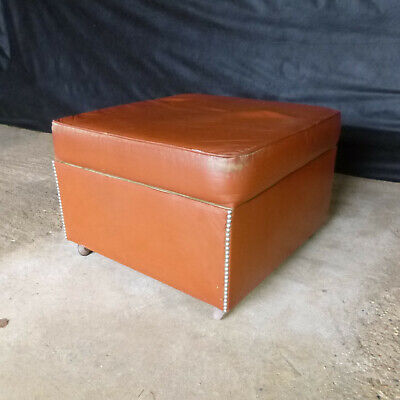 EB659 London Tan Leather Footstool Vintage Lounge Retro Ottoman Storage Interior