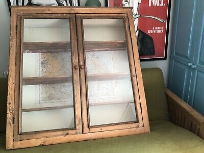 Antique pretty Victorian Glazed Cupboard with vintage map