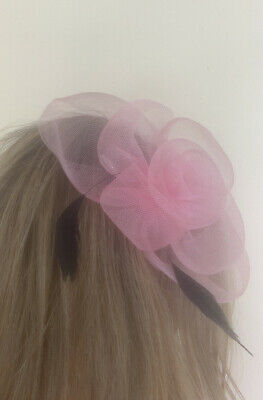 Beautiful light Pink And Black Feather looped design facinator wedding/occasion