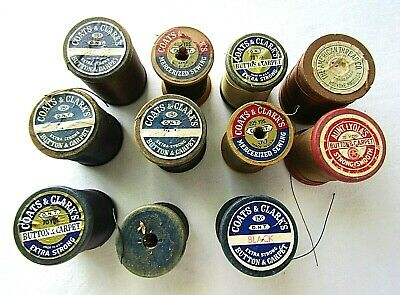Lot of 11 pieces Vintage COATS & CLARKS Talon Wood Heavy Chord Thread Spools