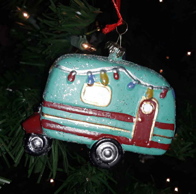 Retro Blue Christmas Vacation Camper Trailer Ornament by Ashland New NWT 3.5""