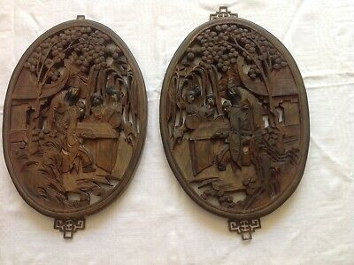 Pair Of Antique Chinese Carved Wooden Panels