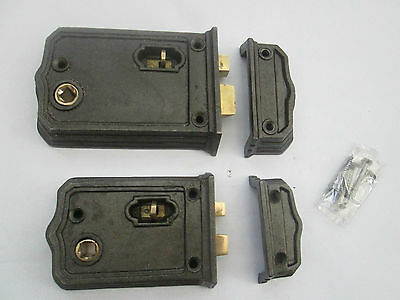 Iron English Victorian Style Bathroom Bedroom Rim Door Lock Latch Box