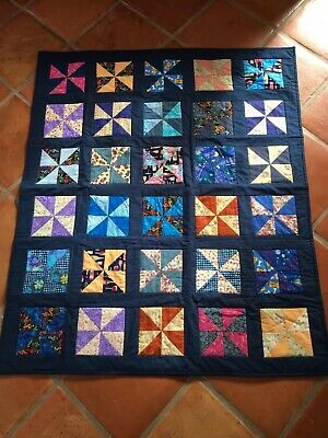 Hand Made Blue Small Childs Quilt. Beautifully made. Brand New.