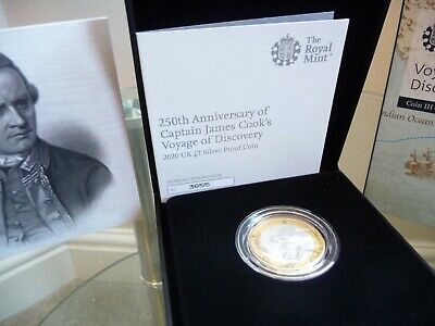 2020 Royal Mint Captain James Cook UK Silver Proof £2 Coin c/w COA - Brand New.