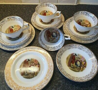 Beautiful Bone China Trios X 4 Teacup Saucers Side Plates.  Afternoon tea party