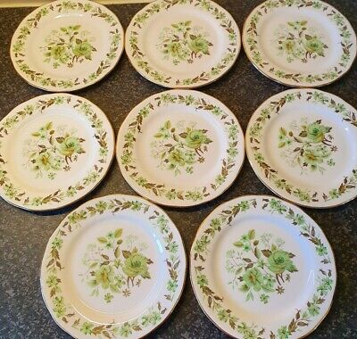 8 X Colclough Bone China Side Plates Green Floral Afternoon Tea party