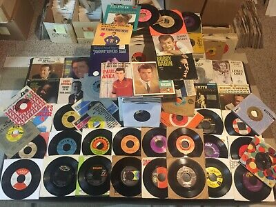 "HUGE Lot of 150+ Rock Pop DooWop 45 RPM 7"" Vinyl Records in Sleeves 1950s-1960s"
