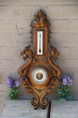Antique French oak wood carved gothic castle dragon figurine Barometer
