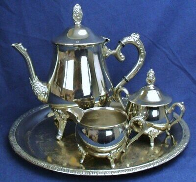 Vintage silver plated tea set & tray