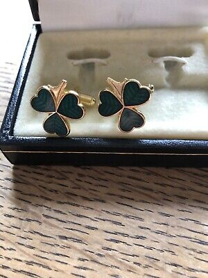 Shamrock Shaped Cuff Links Gold Tone