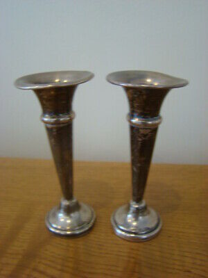 Pair Sterling Silver Miniature Vases