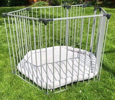 Silver baby playpen with Soft Grey mat
