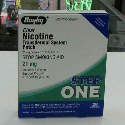 RUGBY CLEAR NICOTINE TRANSDERMAL SYSTEM STEP 1 ,  28 PATCHES @ 21mg exp 09/21