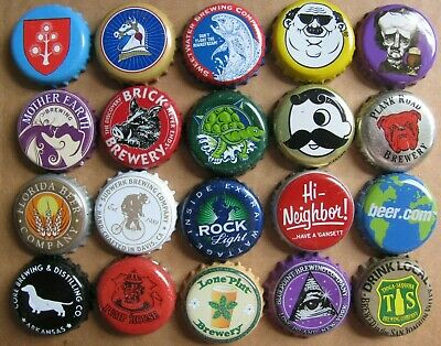 20 Different With Graphic Designs Beer Bottle Caps Lot #1