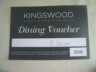£30 gift voucher for Kingswood Restaurant, St Austell