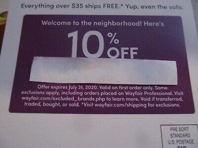 WAYFAIR 10% Off Entire First Order Coupon Expires 7/31/2020, Fast E-Delivery