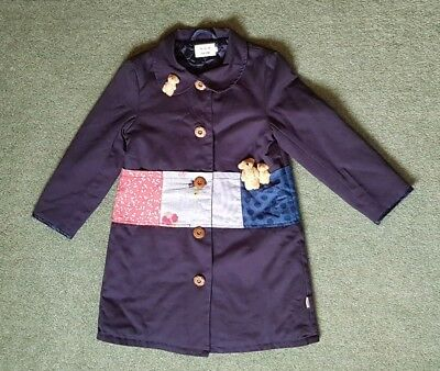 Navy Girls Coat Cotton Teddy patchwork Cute Size 5 years?