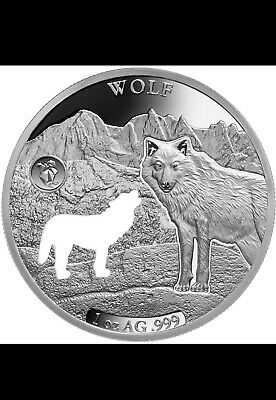 2020 Barbados Shapes America 1 oz Proof-Like Silver Wolf MINTAGE ONLY 7500