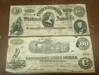 1862 & 1864 $100 Confederate Currency Notes**** Rare