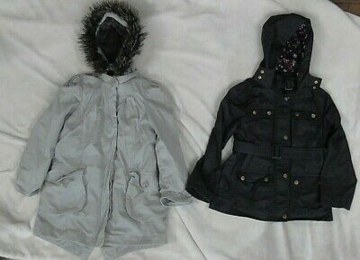 Girls Monsoon Parka Coat & Jasper Conran Blue Barbour Style Jacket Age 8-9-10